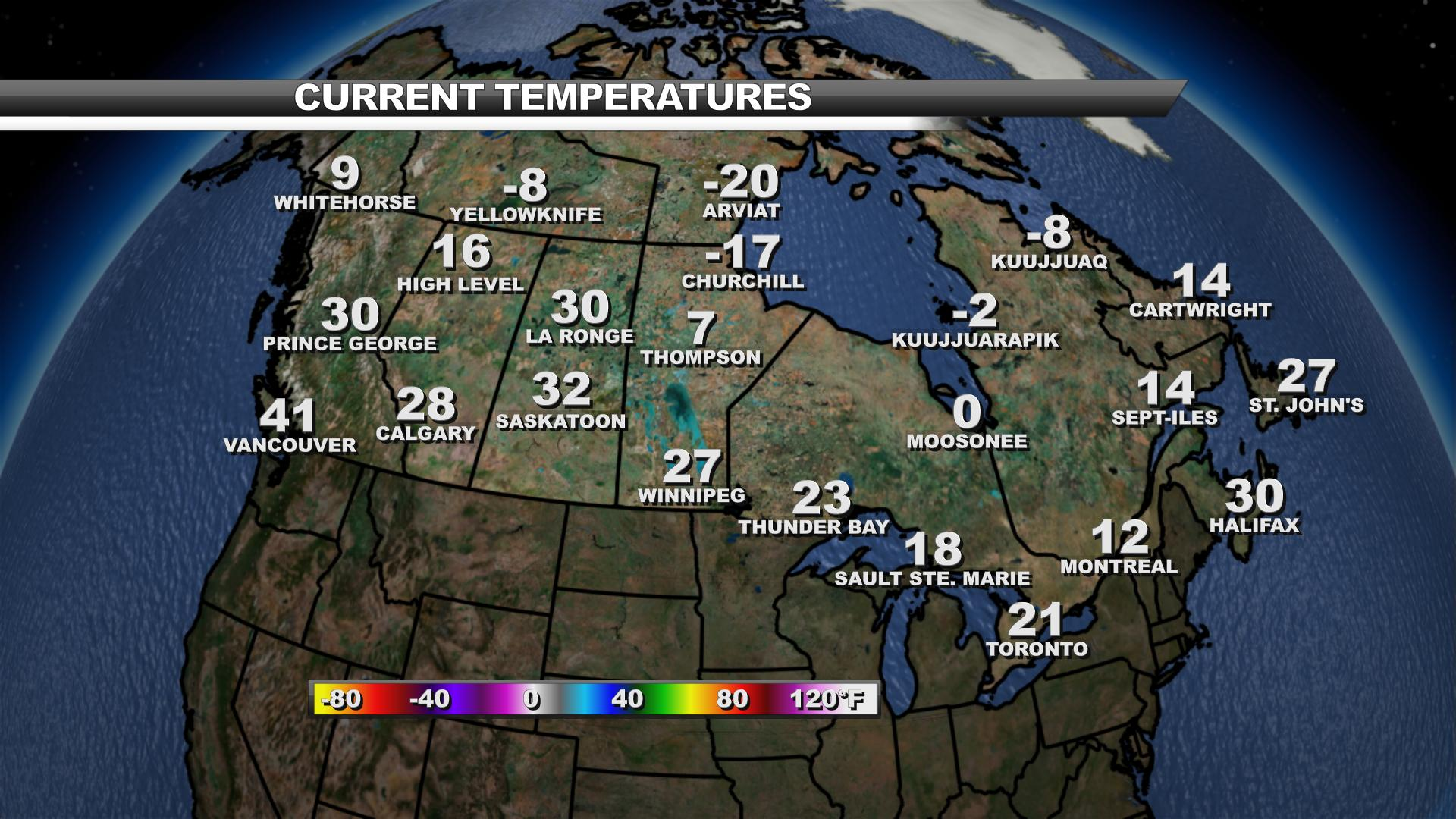 Map Of Canada Today.Canada Current Temperatures